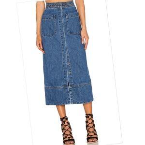 Free People Just A Dream Denim Midi Skirt